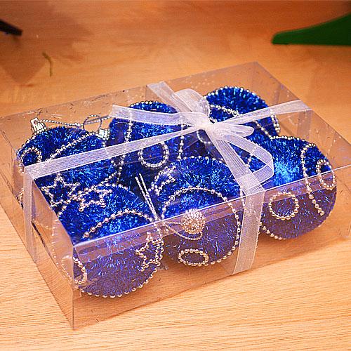 【X mas聖誕特輯2014】6入裝飾特殊造型鍍金球-75mm 雪花藍 BT-5296