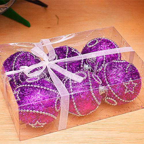 【X mas聖誕特輯2014】6入裝飾特殊造型鍍金球-75mm 雪花紫 BT-5298