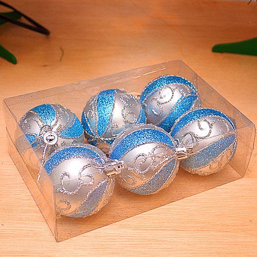 【X mas聖誕特輯2014】6入裝飾特殊造型鍍金球-75mm 繽紛銀藍 BT-5302