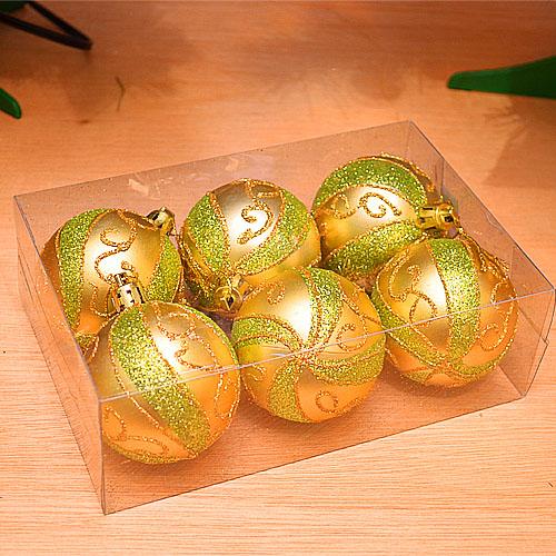【X mas聖誕特輯2014】6入裝飾特殊造型鍍金球-75mm 繽紛金綠 BT-5303