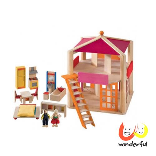 【Selecta 木製遊戲玩具】原木全配娃娃屋超值組(送寵物狗組) BCST0112+BCST0110