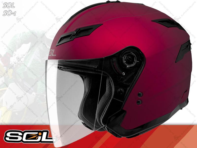 SOL安全帽|SO-1 / SO1 素色 消光紅 【內置墨片.LED燈】 半罩帽 『耀瑪騎士生活機車部品』