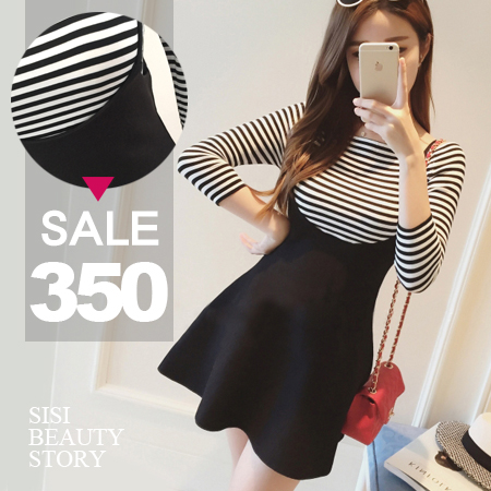 SISI【E6001】清新可人韓版顯瘦細肩高腰純色傘襬連身裙+一字領條紋T恤套裝