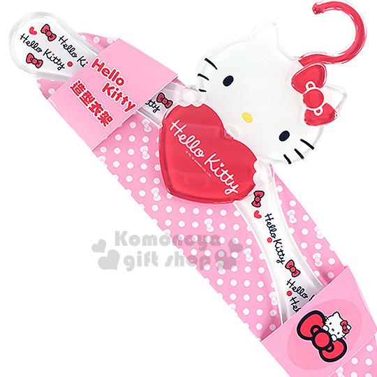 〔小禮堂〕Hello Kitty 造型衣架《紅.大臉.抱愛心》壓克力材質