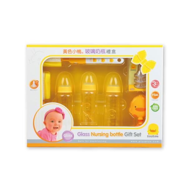 『121婦嬰用品館』黃色小鴨 玻璃奶瓶禮盒(標準口徑)