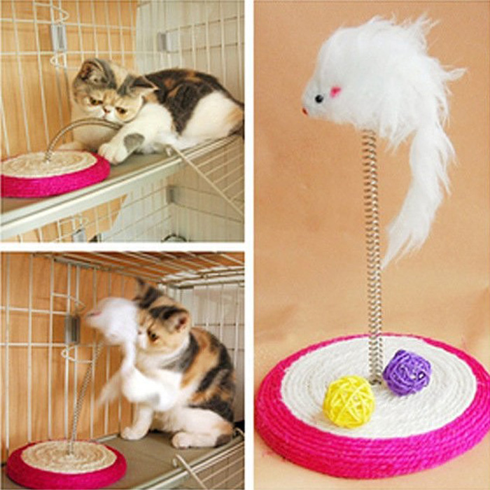糖衣子輕鬆購【DS152】磨爪玩具-編織麻繩彈簧小老鼠貓劍麻抓彈簧鼠貓抓板
