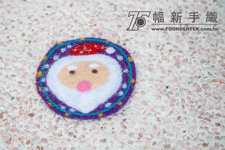 羊毛氈材料包-聖誕老公公針氈杯墊