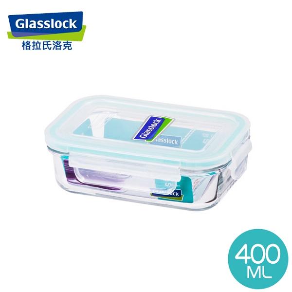 Glass Lock 強化玻璃保鮮盒韓國原裝長型400ml-RP519嬰兒副食品分裝盒-大廚師百貨