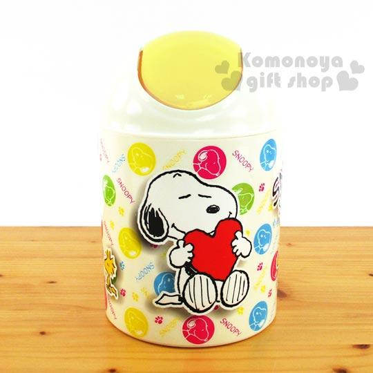 〔小禮堂〕史努比 迷你圓形垃圾筒《黃.抱愛心.腳印.LOGO》桌面型