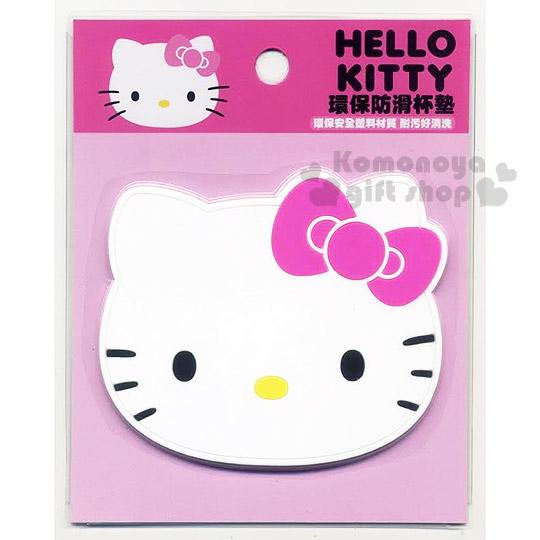 〔小禮堂〕Hello Kitty 造型矽膠杯墊《白.大臉.桃蝴蝶結》生活小物.具止滑效果