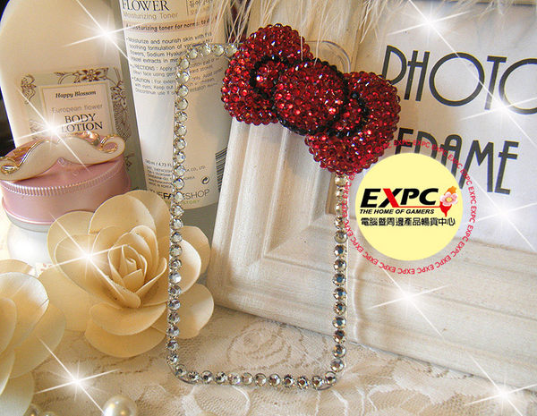 EXPC KITTY蝴蝶結邊鑽透明 iPHONE/SAMASUNG/HTC/貼鑽 水鑽 手機殼 手機殼專賣店