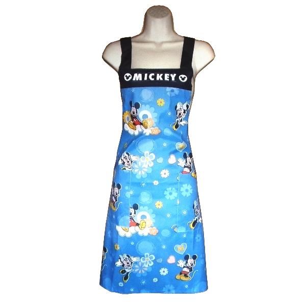 Disney米奇米妮布花口袋圍裙MK504 -藍
