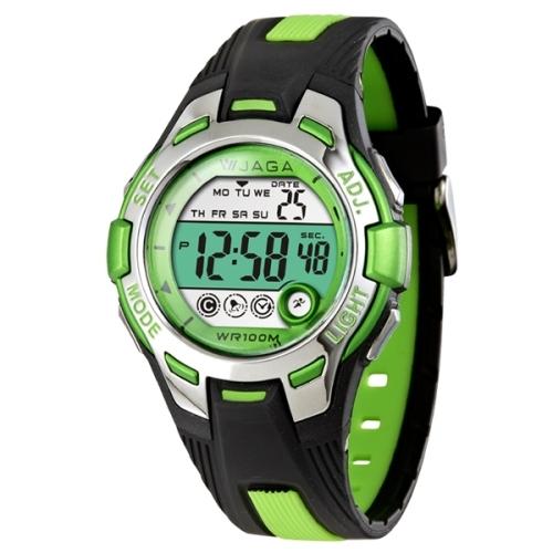 JAGA捷卡M998都會潮流運動電子錶-黑綠