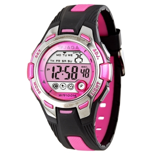 JAGA捷卡M998都會潮流運動電子錶-黑粉