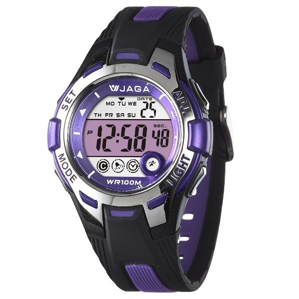 JAGA捷卡M998都會潮流運動電子錶-黑紫