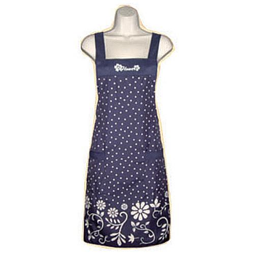 花朵圓點口袋圍裙F528藍