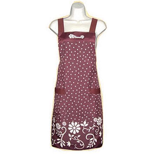 花朵圓點口袋圍裙F528紅