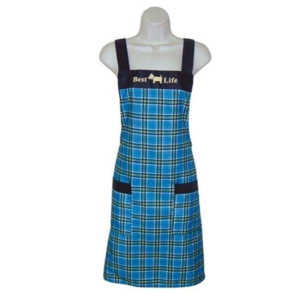 小狗格紋口袋圍裙GS512藍
