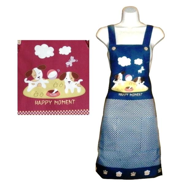 小狗口袋細格紋圍裙F544 -藍