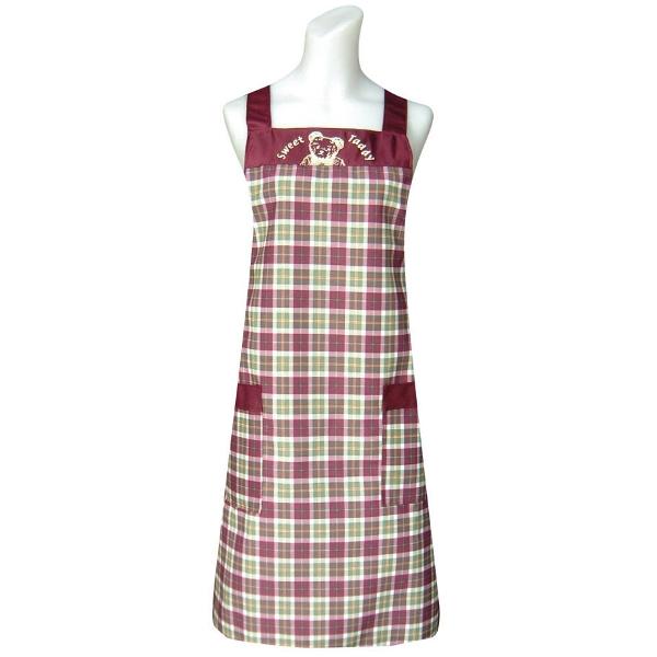 甜蜜熊兩口袋圍裙C558紅