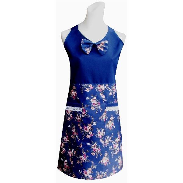 V領玫瑰花兩口袋圍裙C582藍
