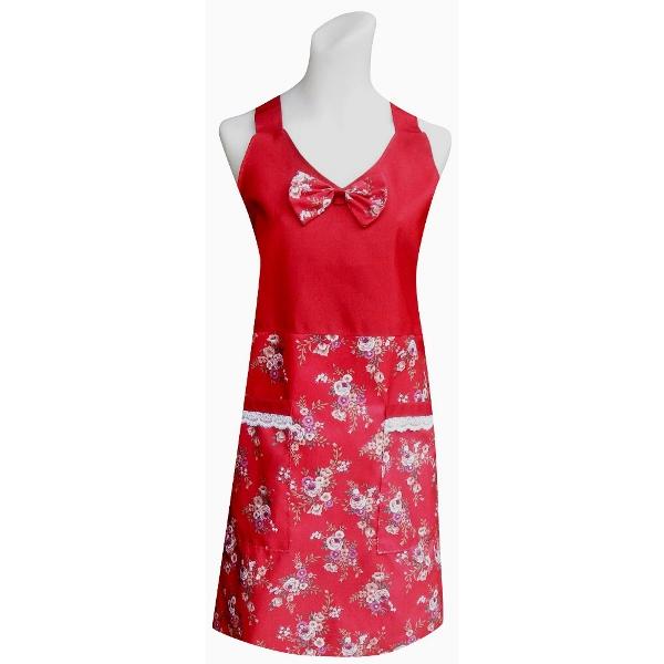 V領玫瑰花兩口袋圍裙C582紅