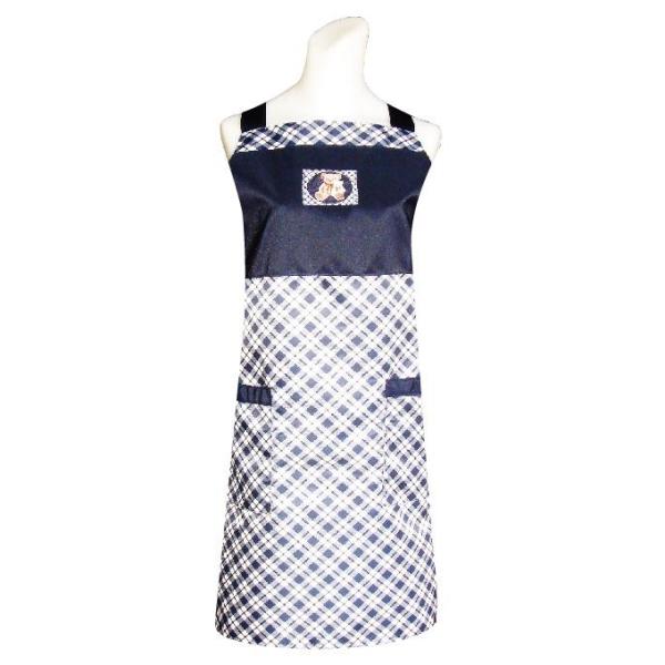 小熊織標口袋圍裙-藍色CC502