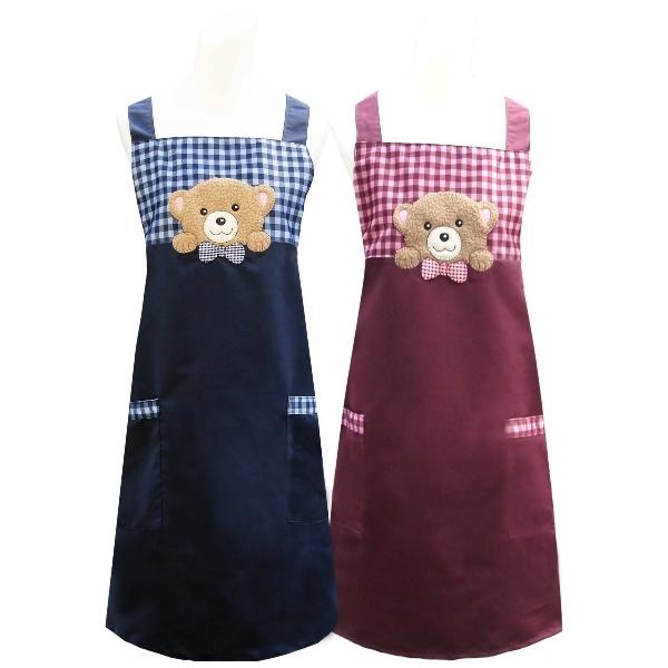 好奇熊口袋圍裙(藍/紅) 任選1入CC526
