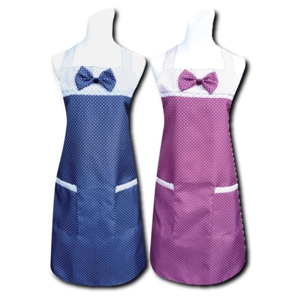 圓點蝴蝶結兩口袋圍裙(藍/紅) 任選1入C586