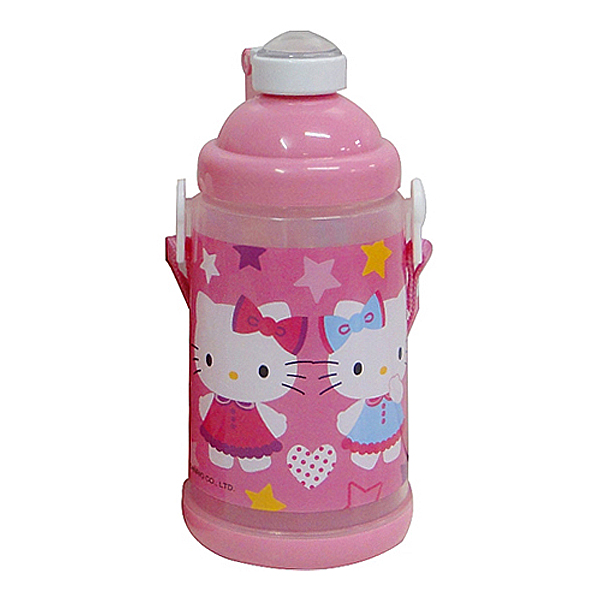 Hello Kitty粉紅色背帶式彈跳水壺650c.c