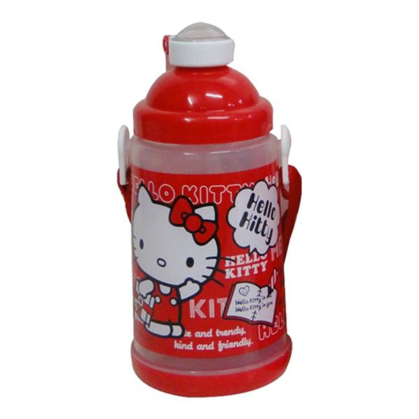 Hello Kitty紅色背帶式彈跳水壺650c.c