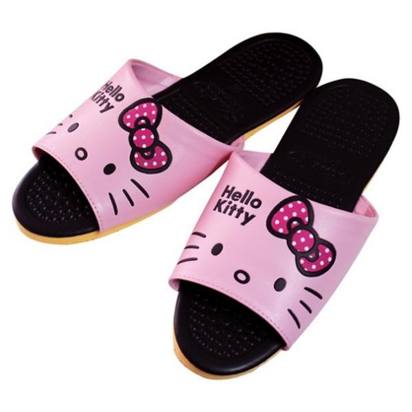 Hello Kitty頭形室內皮拖KT0428B-粉紅色S24號