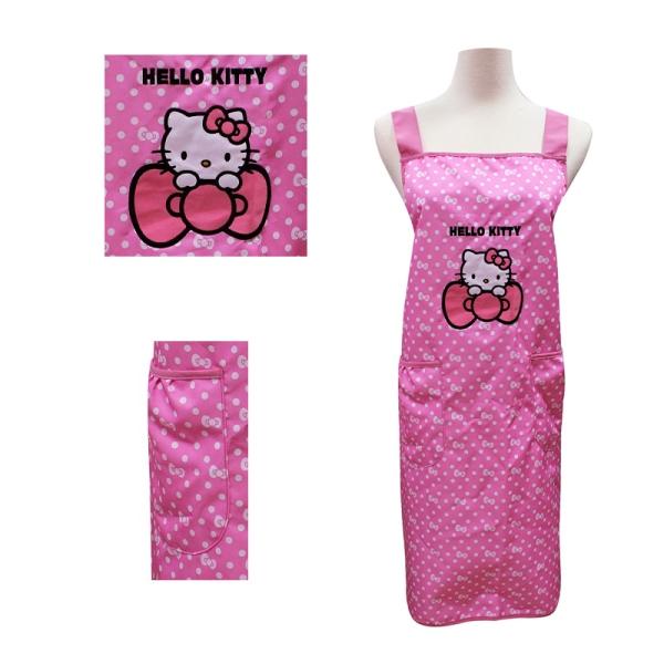 Hello Kitty粉紅色圓點蝴蝶結圍裙KT-0625