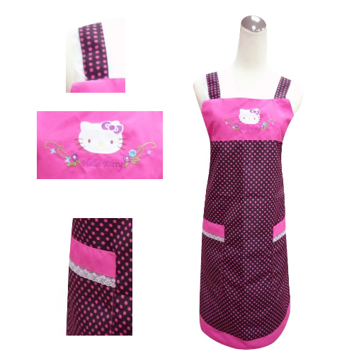 Hello Kitty 圓點蕾絲圍裙KT-0750B(黑底‧紫圓點)
