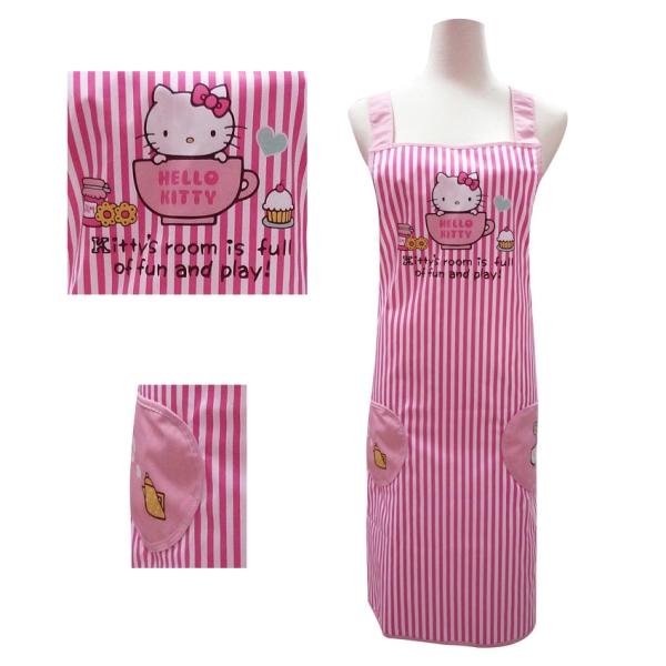 Hello Kitty下午茶粉紅條紋圍裙KT-0836