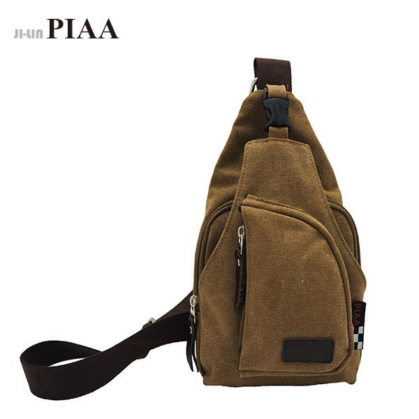 85-8026《PIAA 皮亞》咖啡色帆布單肩胸背包