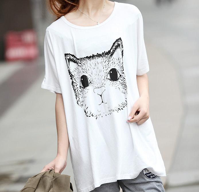 YJY舒適寬鬆莫代爾貓咪燙印T恤[2014216]