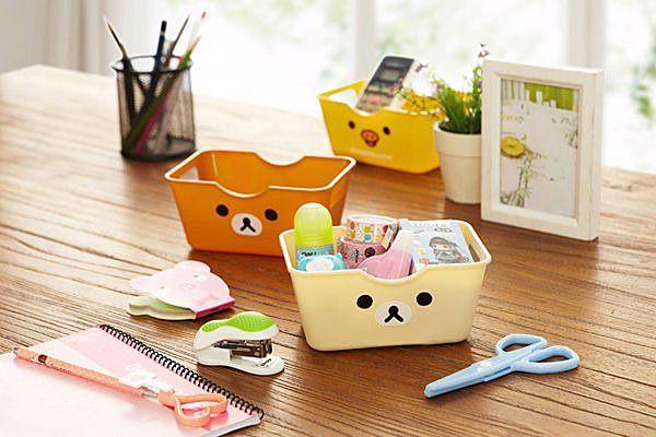 可愛日系卡通熊桌面收納盒 文具收納 保養品收納 手機盒 化妝品收納【SV2404】BO雜貨