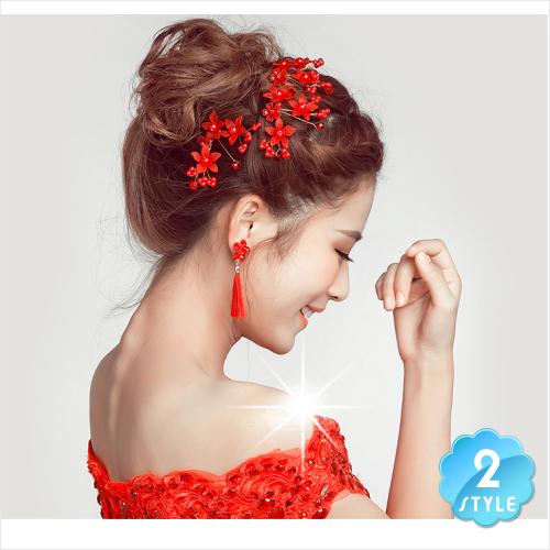 拍花紗照/婚慶喜宴造型-法式款新娘頭飾U形髮插(珍珠花)-兩色(單入) [48995]
