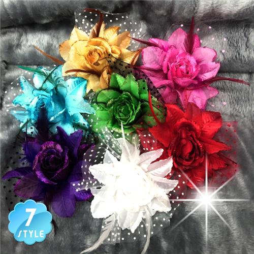 【胸針/髮飾兩用型】新娘髮飾頭花#點點網紗大朵玫瑰(單入)-不挑色 [50551]
