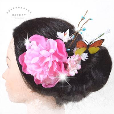 【姑娘系列】日本和服搭配用頭飾.古裝角色扮演黃花大閨女髮飾-夾式CTK-715(雙宿雙飛) [46441]