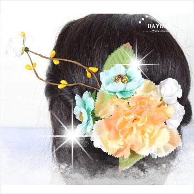 【姑娘系列】日本和服搭配用頭飾.古裝角色扮演黃花大閨女髮飾-夾式CTK-703(富貴小牡丹) [46443]