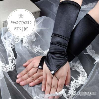 【我們結婚吧!】新娘手套(長版絲質)黑色#露手指-一雙入 [46629]