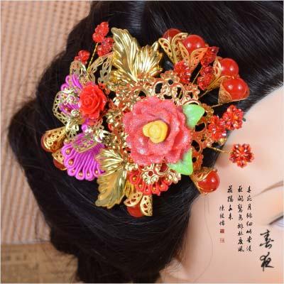 【古裝.婚慶.變裝】A022中式傳統古禮迎親拜堂新娘髮插.頭飾.髮飾(一入) [46907]