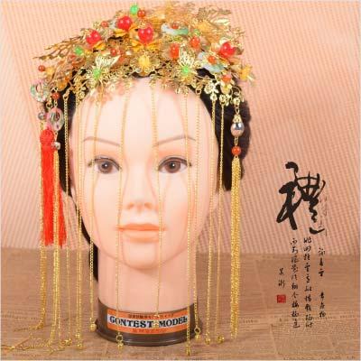 【古裝.婚慶.變裝】A030中式傳統古禮迎親拜堂新娘流蘇垂墜.額配.頭飾.髮飾(一入) [46914]