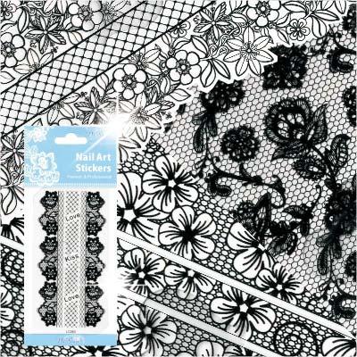 【超細膩花紋】LC系列指甲彩繪緞帶蕾絲貼紙模-黑蕾絲(不挑款) [48319]
