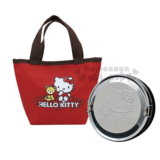 〔小禮堂〕Hello Kitty 不鏽鋼便當盒附提袋《紅.小熊.KS-8125》可以蒸.台灣製