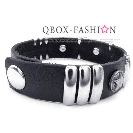 《 QBOX 》FASHION 飾品【W10023340】 精緻個性五角星鉚扣合金皮革手鍊/手環(黑色)