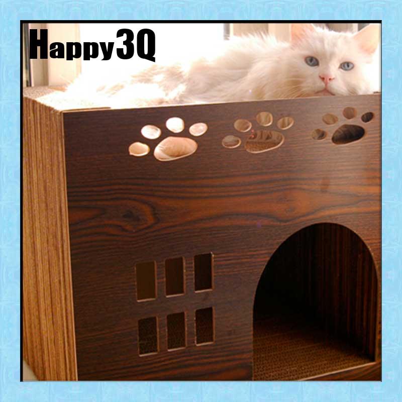 寵物貓沙發寵愛貓咪玩耍休息睡覺磨爪喵星人客廳擺飾貓玩具獨棟別墅奢華城堡瓦楞紙大型貓抓板【AAA0789】