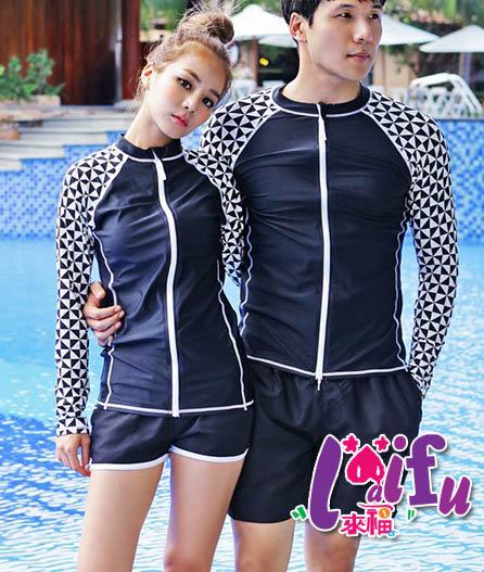 來福,V135浮潛衣幾何拉鍊沖浪服浮潛長袖泳衣單外套,單外套女生售價950元